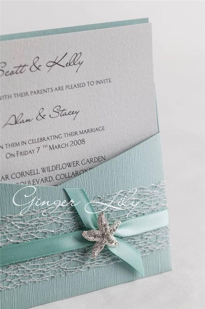 Superb Beach Wedding Invitation DIY Kit ~ Reef   Moonstone Pocket Invite ~ 10 Pcs  Silver And Blue!
