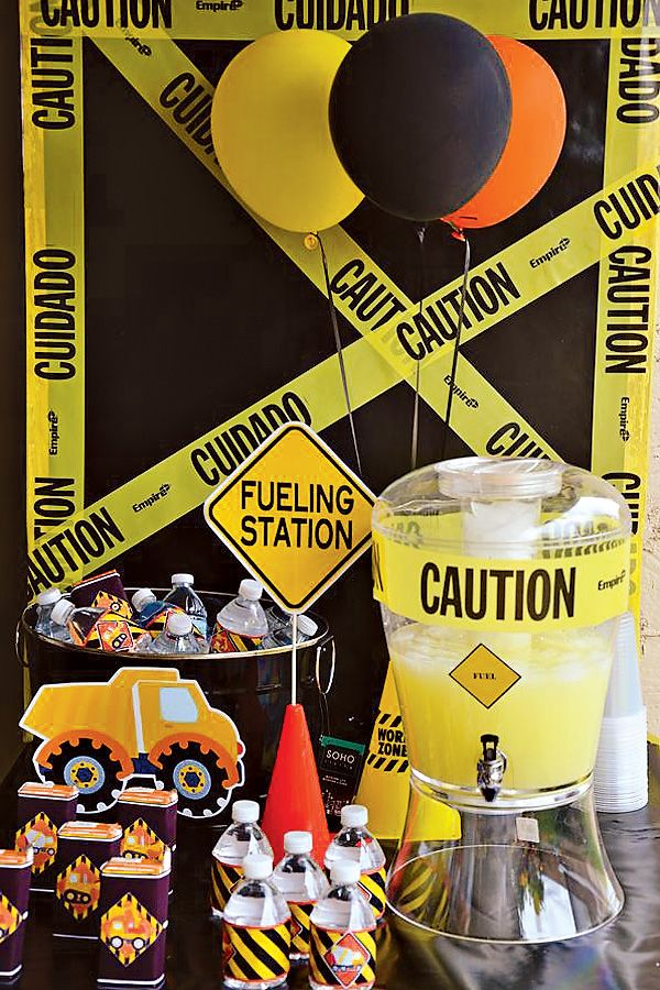 construction party ideas including a fueling drink station
