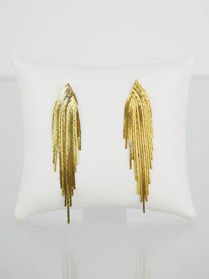 Goldfarbene #Vintage Fransen #Ohrringe #earrings - #VelvetVintage
