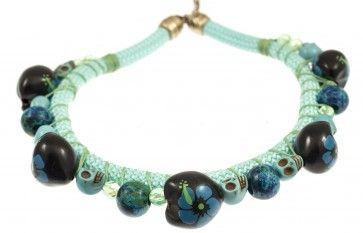 Handmade bronze metal plated necklace with glass stones, by Art Wear Dimitriadis