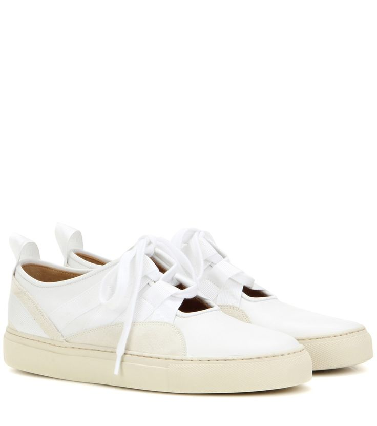 Dries Van Noten - Leather sneakers - Dries Van Noten uses wide laces to update these urban leather sneakers. The clean white upper features panels of beige suede with a matching rubber sole for a minimalist look. The front is left open under the laces for a warm-weather look. seen @ www.mytheresa.com