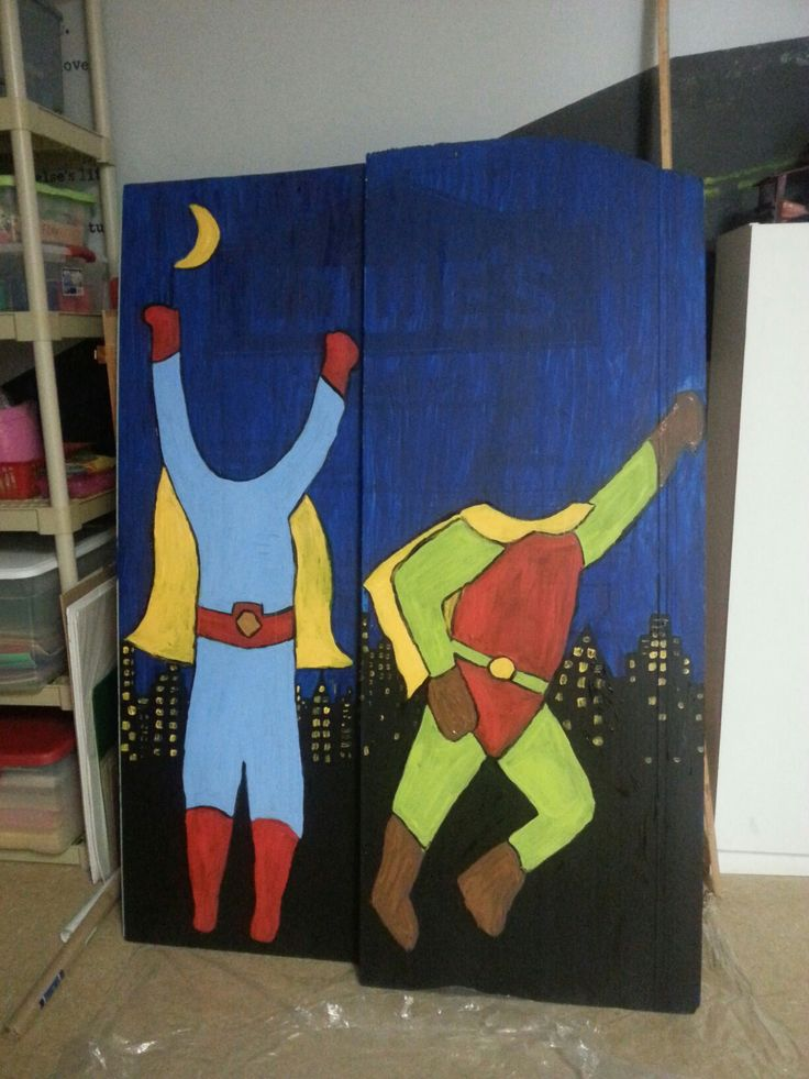 Foam board panels from lowes  paintedfor superhero hole in the face decorations #vbs #herocentral #vbs2017