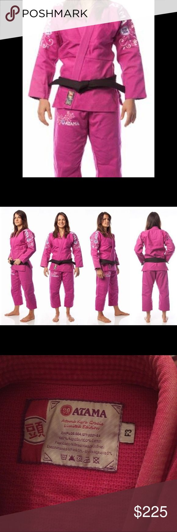 Pink Atama jiu jitsu gi Authentic Kyra Gracie limited edition gi. Most pink Atama gis are plain and solid, this limited edition Kyra Gracie has flowers on shoulders and pants as shown. Sold out everywhere online. Vinegar soaked so color will never fade, will always look brand new! Size women's F3. Other