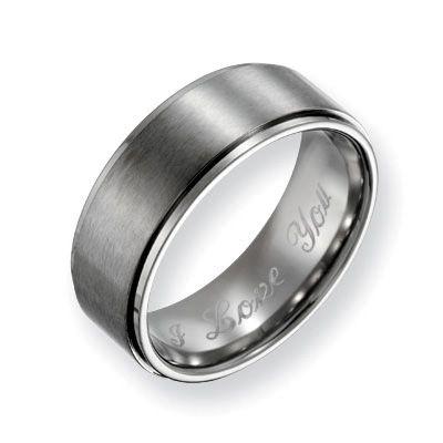 Men's 8.0mm Engraved Titanium Ridged Edge Wedding Band (27 Characters)