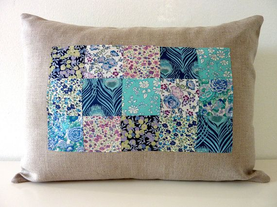 Blueberry Liberty of London Patchwork Pillow on Natural Linen. 12x16. Ties??