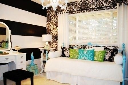 Awesome for a teenage girls roomDecor, Stripes Wall, Black And White, Girls Room, Room Ideas, Striped Walls, Eclectic Bedrooms, Bedrooms Ideas, Teen Room