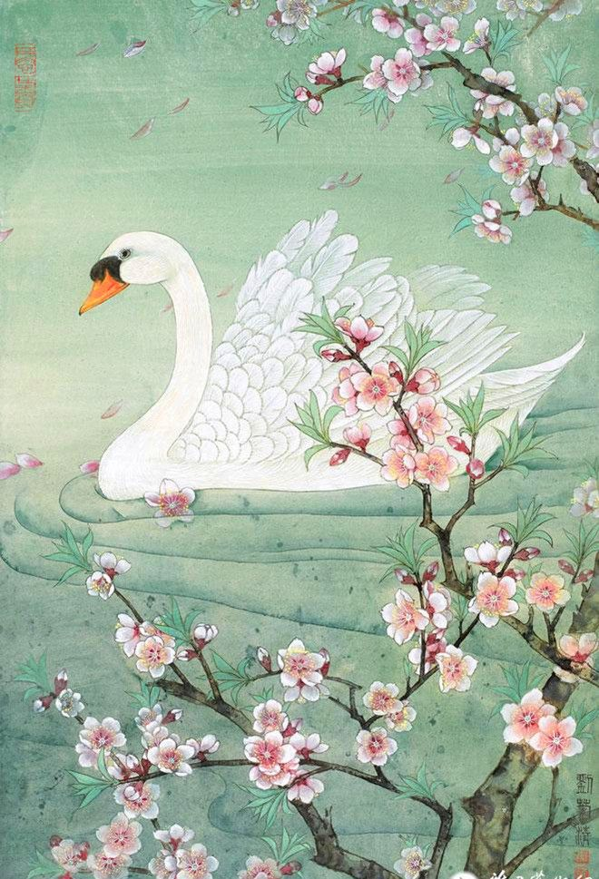 女画家刘菊清工笔作品欣赏 - 桃花天鹅