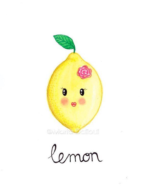 Lemon fruit art original watercolor painting. Cute by MartaDalloul