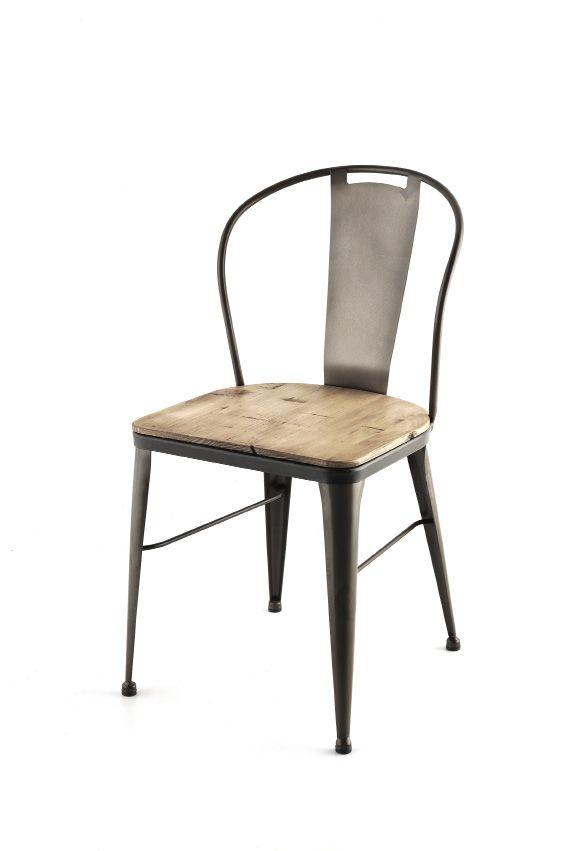 silla madera con estructura acero hosteleria