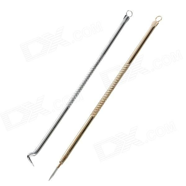 Stainless Steel Blackhead Blemish Remover Pimple Extractor Needle - Golden + Silver