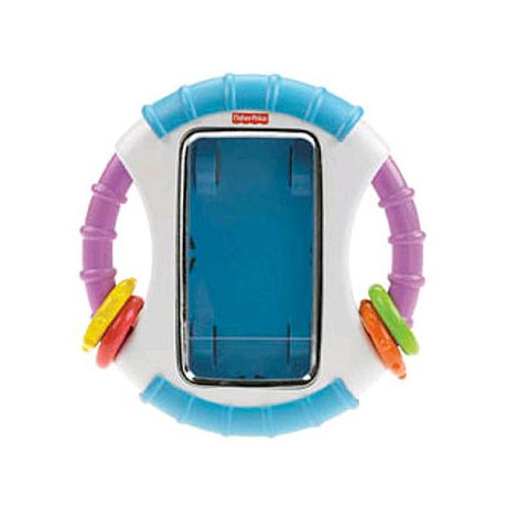 Fisher-Price Laugh & Learn Apptivity Case - supposed to protect your phone from little mouths!   Few teething toys are as high-tech as what this rattle-adorned plaything becomes ...when Mom snaps her iPhone into its clear protective case.