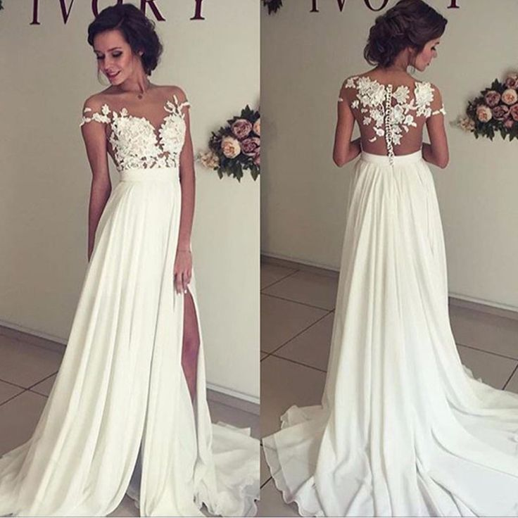 >> Click to Buy << Modern Stylish Chiffon Beach Wedding Dresses Cheap Sheer Neck Lace Appliques See Through Backless Country Western Bridal Dress #Affiliate