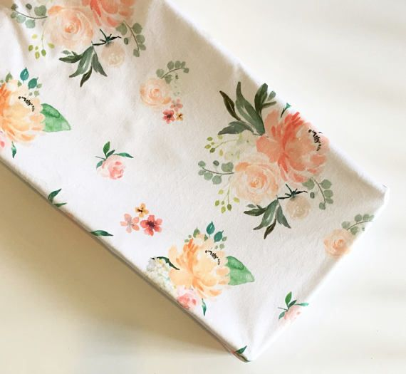 Spring florals changing pad cover | minky baby | peach floral nursery | blush coral | watercolor flowers | baby girl nursery ideas | floral nursery bedding | by Wilder and Bean