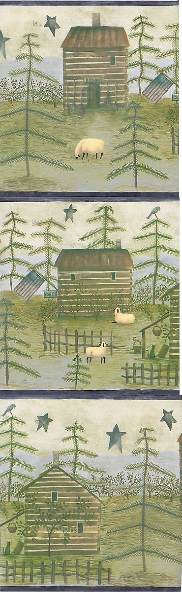 Wallpaper Borders 42136: Carol Endres Log Cabin Crow American Flag Sheep Cat Star Wallpaper Border Blue -> BUY IT NOW ONLY: $39.99 on eBay!