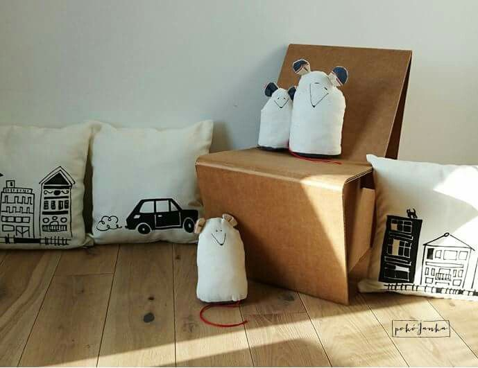 'Mice in a city' pillows