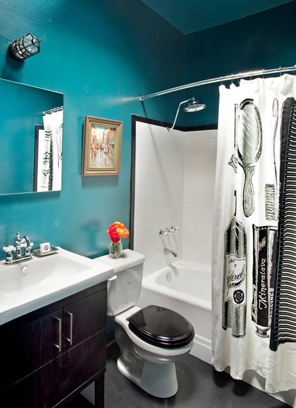 42 Best DIY Bathroom Ideas Images On Pinterest A Crisp Turquoise Black And White  Bathroom.