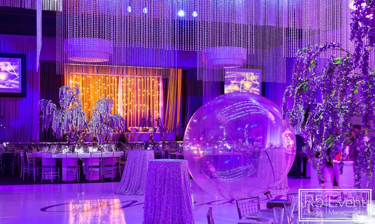 Full service event decor including custom chandelier, furniture, florals, trees and lighting by R5 Event Design