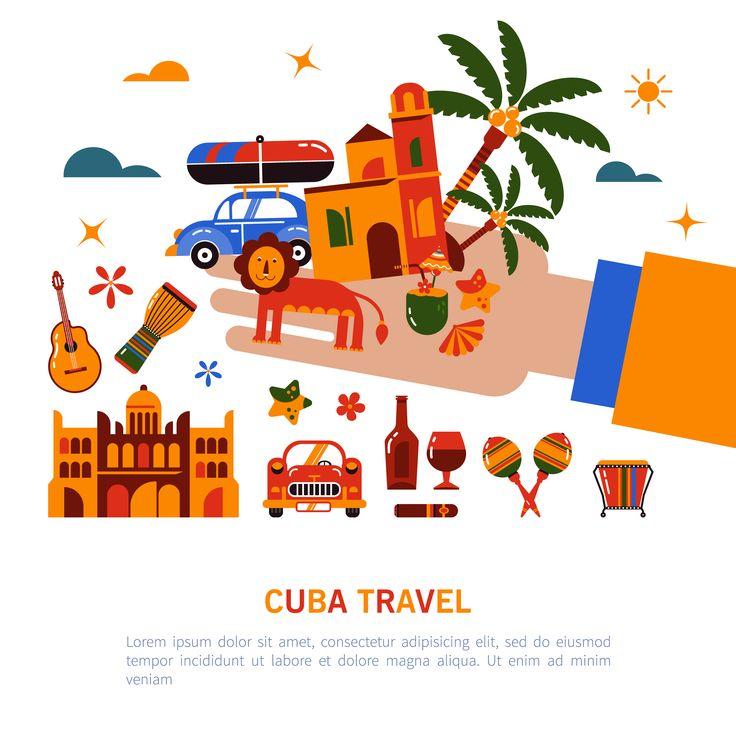 Иллюстрация Кубинской культуры и еды. Набор 4