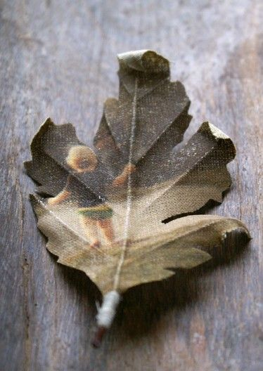 Custom made leaf brooch printed with your photograph by PuurAnders, $42.00