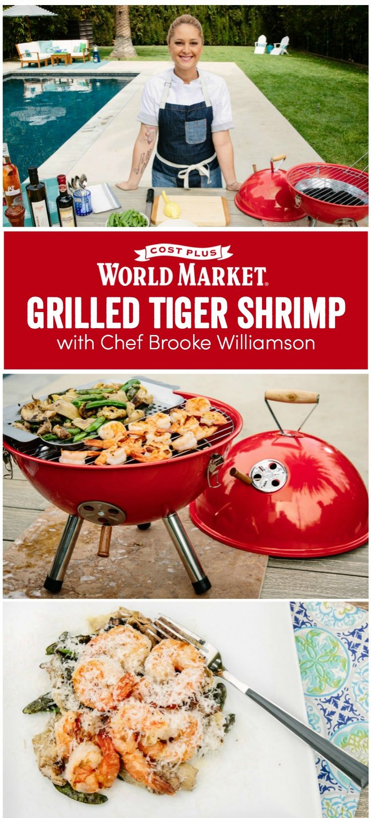 Grilled Tiger Shrimp Recipe and Video Celebrity Chef Brooke Williamson prepares a succulent, visual feast that any home cook can prepare in just a few steps. www.worldmarket.com #CelebrateOutdoors