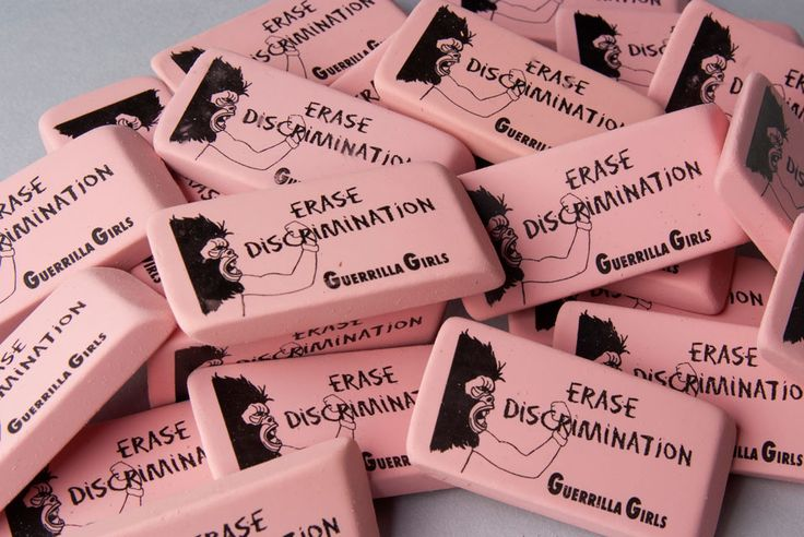 Guerrilla Girls (active 1985– ), Erase Discrimination, 1999. Pink rubber with ink screenprint. Collection of the Akron Museum of Art.