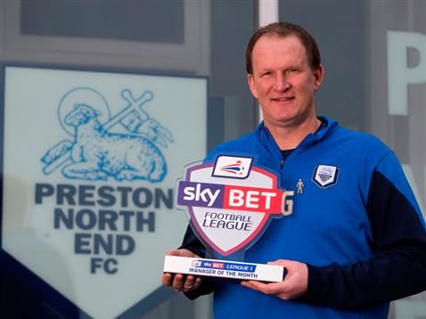 Preston North End boss Simon Grayson named Sky Bet League 1 Manager of the Month.