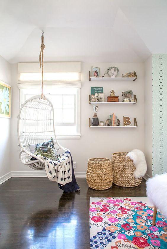 A great tween hangout featuring our Hanging Rattan Chair, via @glitterguide. #serenaandlily: