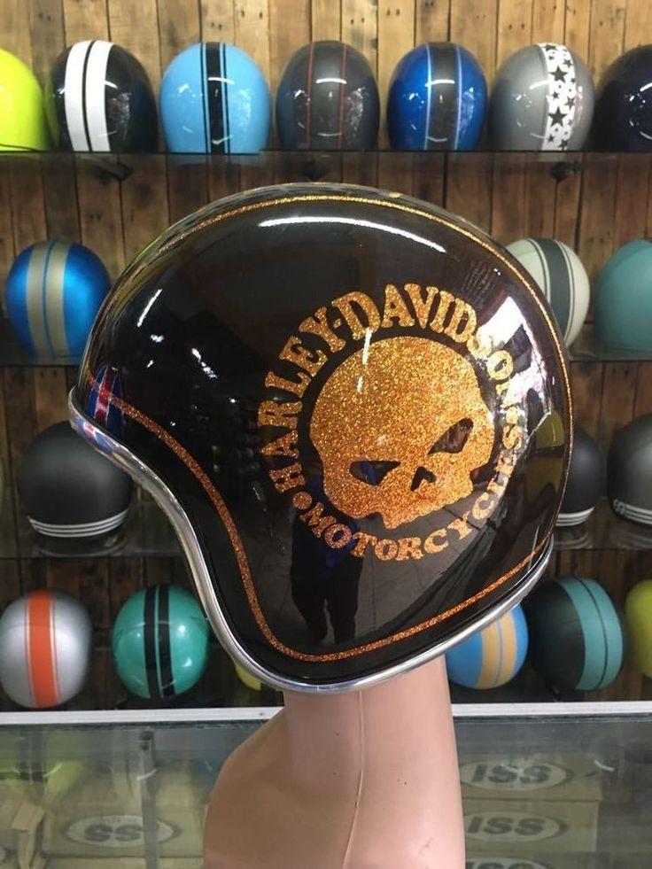 AirBrush Painted Custom Motorcycle Half Helmet With Brown Harley Davidson Skull  #Unbranded #Motorcycle