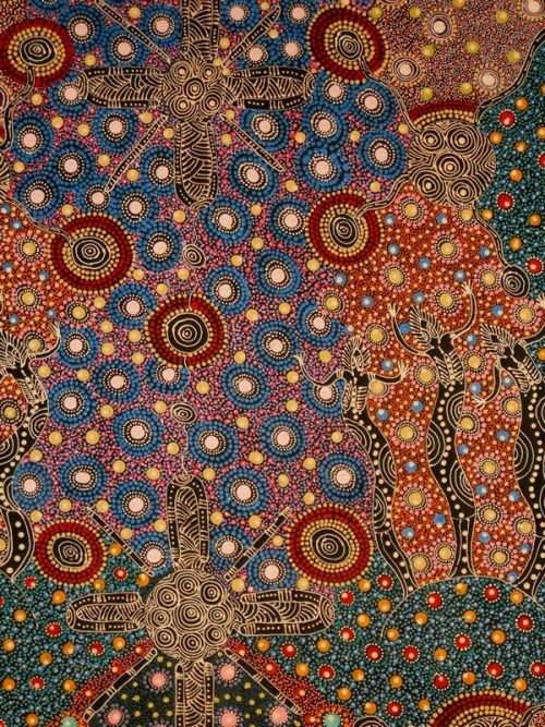 "ABORIGINAL ART COLLEEN WALLACE NUNGARI  - one of her paintings on ""Dreamtime Sisters"""