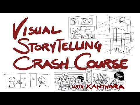 Karine Charlebois' Visual Storytelling Crash Course - YouTube This is the raw stream of a panel I teach at some conventions which focuses on the language of comics and storyboards. It's a lot of information given fairly quickly, but it covers a lot of topics about how to make visual stories work, from panel framing to text bubble overview to the axis and why you shouldn't cross it, and page layout in comics.