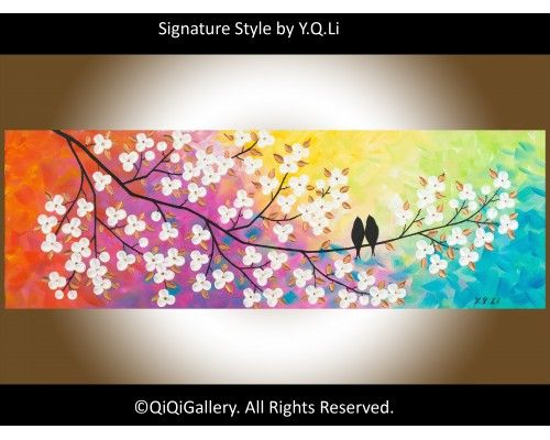 """""""Colors of Love"""" by QIQIGALLERY 36""""x12"""" Original Painting, $185.00"""
