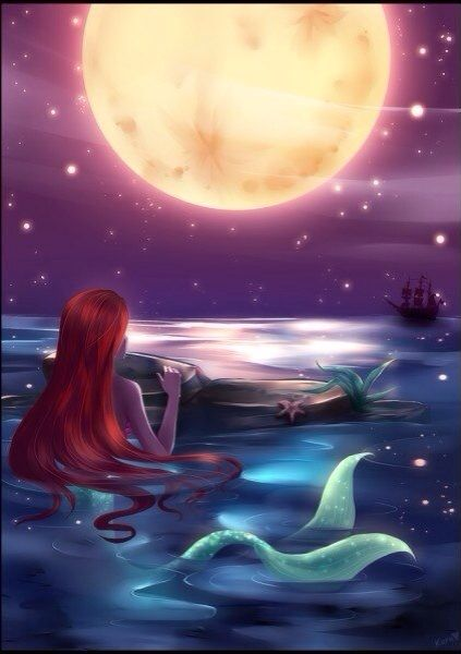 Red hair Mermaid with a green tail in the water & moon art ...