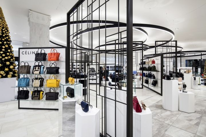 David Jones flagship store by Dalziel & Pow, Melbourne – Australia Featuring a restrained monochrome palette and premium finishes; the design elevates the store experience with a more aspirational, fashion-led attitude.
