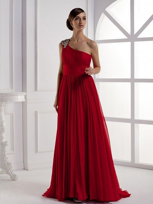 Beautiful Sleeveless with Natural Waist Red Gown