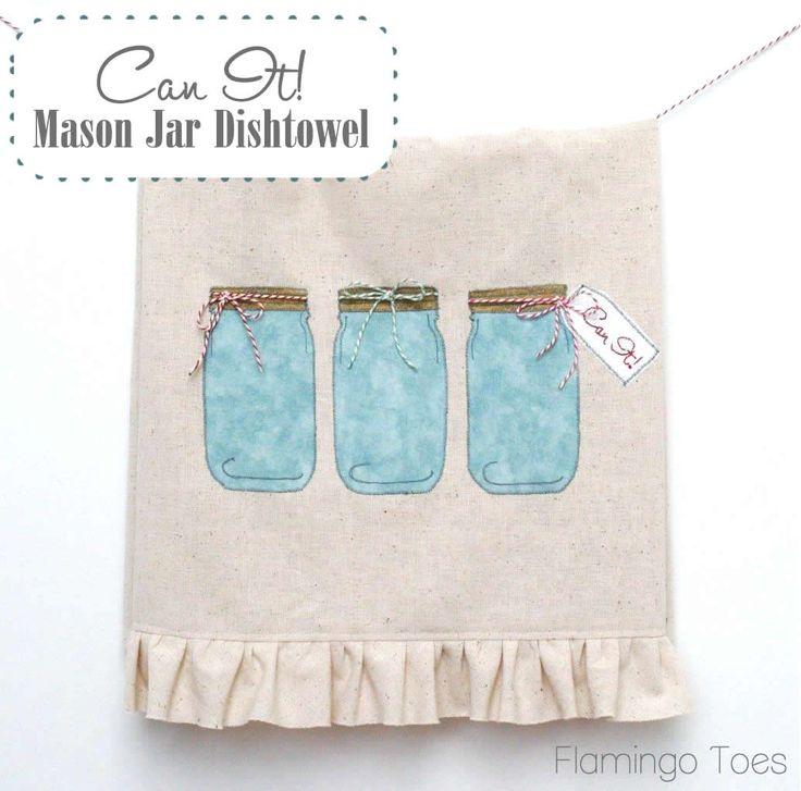 Can It! Mason Jar Dishtowel » Flamingo Toes - dishtowel featuring mason jars and baker's twine!