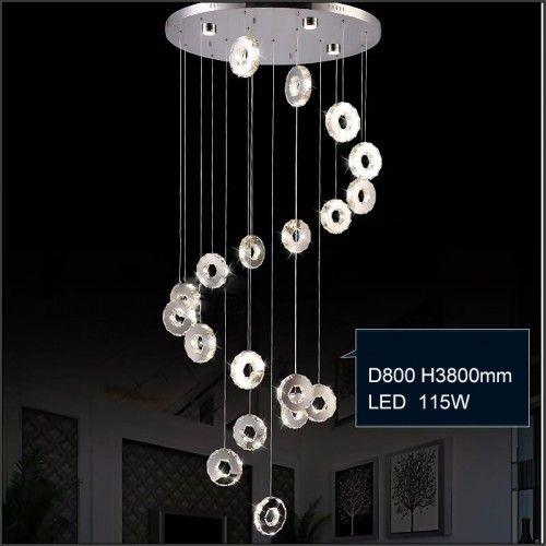 Krystall taklampe med sirkulære lysringer smykket med krystaller MD2472MERS