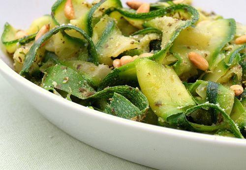 "Zucchini ""Noodles"" with Pesto & Pine NutsSummer Side Dishes, Zucchini Recipe, Zucchini Pasta, Pinenut, Zucchininoodles, Zucchini Noodles, Pine Nut, Healthy Dinner Recipe, Vegan Dinner Recipe"