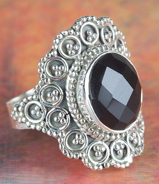 Onyx Jewellery – Genuine Faceted Black Onyx Gems Ring BJR-391-BOC – a unique product by Midas-Jewelry on DaWanda