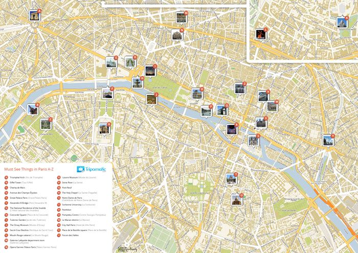 Grab a free Paris Attractions Map. Don't miss any of the best tourist sights and attractions. Print it out and enjoy your trip to Paris.