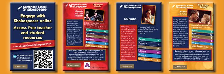 Request your free pack of Shakespeare Trading Cards