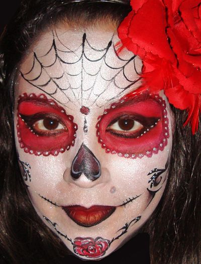 skeleton halloween makeup for kids sugarskull professional face and body painter in miami - Halloween Skull Face Paint Ideas