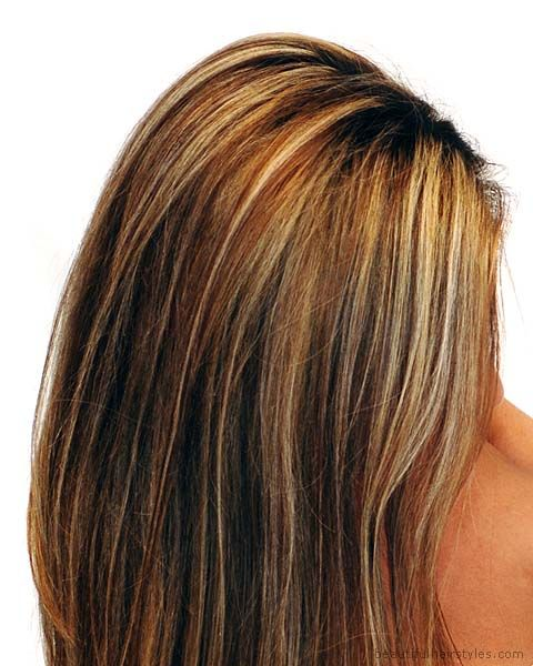 Brown Hair and Balanced Full-Coverage Blond Streaks