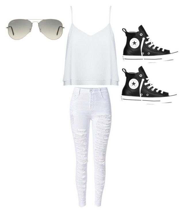 """Untitled #7"" by imperfectjustsoyouno ❤ liked on Polyvore featuring Alice + Olivia, Converse and Ray-Ban"