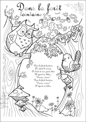 dans-la-foret-lointaine - colouring pages and links to French songs on you tube