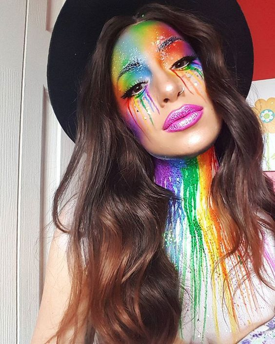jessika petten is dripping in rainbow. She created this amazing explosion of color with a little help from Velocity, Buttercupcake, Love+, Poison Plum, Flamepoint and Midori shadows Fx Makeup, Cosplay Makeup, Costume Makeup, Beauty Makeup, Make Up Looks, Sugarpill Cosmetics, Rainbow Makeup, Rainbow Face, Rides Front