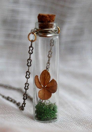 Four Leaf Clover Terrarium Necklace Jewelry Making