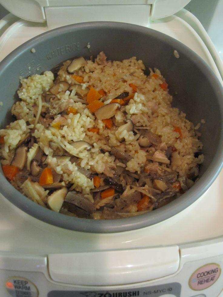 Mom's Takikomi Gohan (Mixed Browned Rice) in Rice Cooker   Bebe Love Okazu