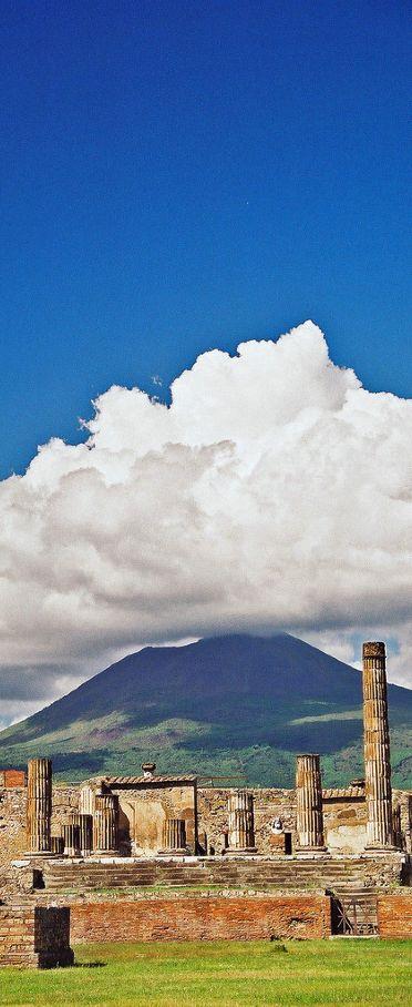 Vesuvius (volcano, I climbed it) from the ruins of Pompeii, Italy. xx