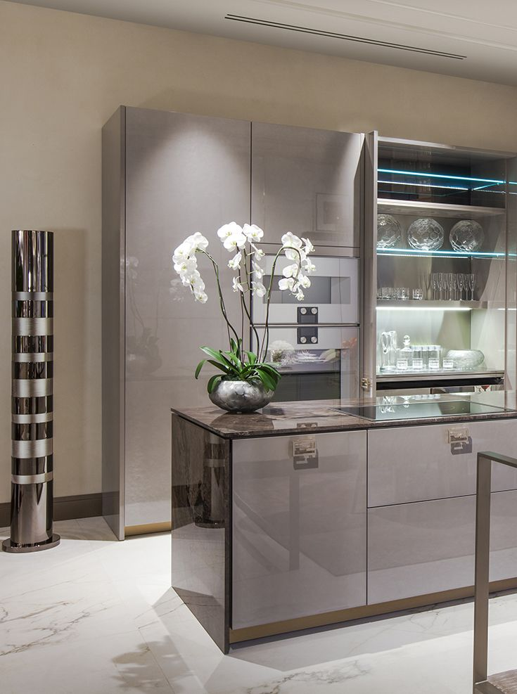 Sneak Peak from our new Los Angeles showroom. Fendi Casa Ambiente cucina, smooth elegant tones. Lacquered surface, metal and marble combination create beautiful atmosphere in the kitchen. Fendi Casa Luxury Living