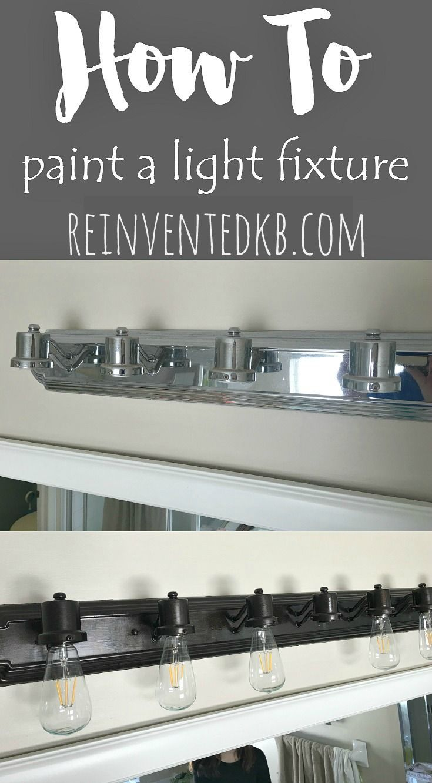 How To Paint A Bathroom Light Fixture Pinnable